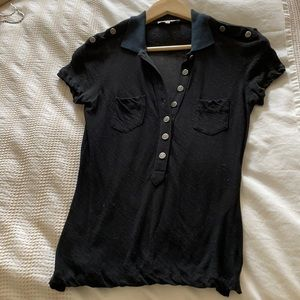 Zac Posen black sheer shirt size S